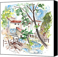 Almeria Travel Sketch Drawings Canvas Prints - Velez Blanco 01 Canvas Print by Miki De Goodaboom