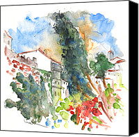 Almeria Travel Sketch Drawings Canvas Prints - Velez Blanco 02 Canvas Print by Miki De Goodaboom