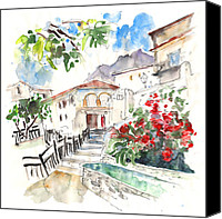Almeria Travel Sketch Drawings Canvas Prints - Velez Blanco 03 Canvas Print by Miki De Goodaboom