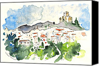 Almeria Travel Sketch Drawings Canvas Prints - Velez Blanco 04 Canvas Print by Miki De Goodaboom