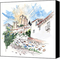 Almeria Travel Sketch Drawings Canvas Prints - Velez Blanco 05 Canvas Print by Miki De Goodaboom
