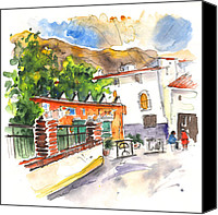 Almeria Travel Sketch Drawings Canvas Prints - Velez Blanco 06 Canvas Print by Miki De Goodaboom
