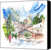 Almeria Travel Sketch Drawings Canvas Prints - Velez Blanco 07 Canvas Print by Miki De Goodaboom