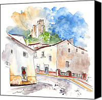 Almeria Travel Sketch Drawings Canvas Prints - Velez Blanco 08 Canvas Print by Miki De Goodaboom