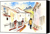 Almeria Travel Sketch Drawings Canvas Prints - Velez Blanco 09 Canvas Print by Miki De Goodaboom