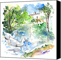 Almeria Travel Sketch Drawings Canvas Prints - Velez Blanco Ducks Canvas Print by Miki De Goodaboom
