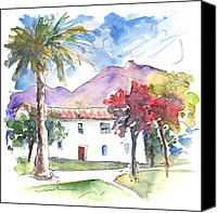 Almeria Travel Sketch Drawings Canvas Prints - Velez Rubio House 01 Canvas Print by Miki De Goodaboom