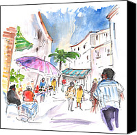 Almeria Travel Sketch Drawings Canvas Prints - Velez Rubio Market 01 Canvas Print by Miki De Goodaboom
