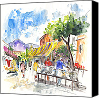 Almeria Travel Sketch Drawings Canvas Prints - Velez Rubio Market 02 Canvas Print by Miki De Goodaboom