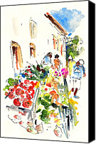Almeria Travel Sketch Drawings Canvas Prints - Velez Rubio Market 03 Canvas Print by Miki De Goodaboom