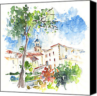 Almeria Travel Sketch Drawings Canvas Prints - Velez Rubio Townscape 01 Canvas Print by Miki De Goodaboom