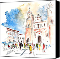 Almeria Travel Sketch Drawings Canvas Prints - Velez Rubio Townscape 02 Canvas Print by Miki De Goodaboom