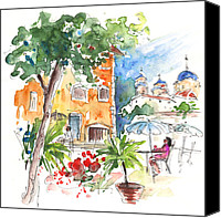 Almeria Travel Sketch Drawings Canvas Prints - Velez Rubio Townscape 03 Canvas Print by Miki De Goodaboom