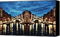 City Island Mixed Media Canvas Prints - Venice Abstract Dream In The Night Canvas Print by Nenad  Cerovic