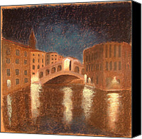 Canals Pastels Canvas Prints - Venice Reflections Canvas Print by Logan Marlatt Gerlock