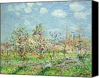 Featured Canvas Prints - Verger en Fleur Canvas Print by Gustave Loiseau