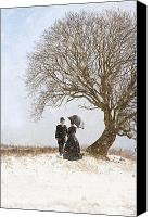 Men Conversing Canvas Prints - Victorian Couple Beneath A Tree In Winter Canvas Print by Lee Avison