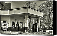 Ken Williams Canvas Prints - Vintage filling station  Canvas Print by Ken Williams
