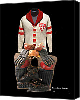 Hockey Sweater Canvas Prints - Vintage McGill Sweater and Hockey Equipment Canvas Print by Spencer Hall