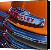 Antique Automobiles Photo Canvas Prints - Vintage Orange Chevrolet Canvas Print by Carol Leigh