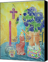 Angel Blues  Painting Canvas Prints - Violets and Angel with Cross Still Life Canvas Print by Melanie Palmer