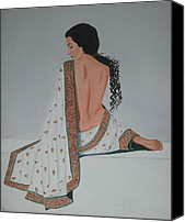 Sari Canvas Prints - Voluptuous Vidya Balan in White Sari Canvas Print by Pallavi Talra
