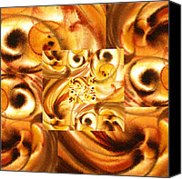 Great Painting Canvas Prints - Warm Cappuccino Abstract Collage Canvas Print by Irina Sztukowski