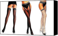 Posing Drawings Canvas Prints - Watch my stockings Canvas Print by Stefan Kuhn
