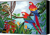 Green Parrot Snake Canvas Prints - Watch Out hand embroidery Canvas Print by To-Tam Gerwe