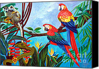 Green Parrot Snake Canvas Prints - Watch Out  Canvas Print by To-Tam Gerwe