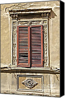 Complex Canvas Prints - Weathered Red Wood Window Shutters of Tuscany II Canvas Print by David Letts
