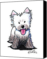 Cute Drawings Canvas Prints - Westie Muddy Westie Canvas Print by Kim Niles