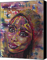 Art Of Soul Singer Canvas Prints - Windows of the Soul IMANY Nadia Mladjao in Progress Canvas Print by Anna Ruzsan