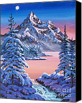 Hyper-realism Canvas Prints - Winter Moon Canvas Print by  David Lloyd Glover