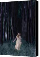 Gown Canvas Prints - Woman In Forest Canvas Print by Joana Kruse