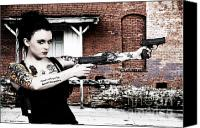 Crime Fighter Canvas Prints - Woman with Pistols Canvas Print by Rob Byron