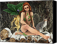 Leaves Special Promotions - Wood Fairy Canvas Print by Jutta Maria Pusl