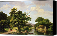 Featured Canvas Prints - Wooded River Landscape with Peasants Unloading a Ferry Canvas Print by Marinus Adrianus Koekkoek