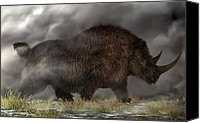 Ice Age Canvas Prints - Woolly Rhinoceros Canvas Print by Daniel Eskridge