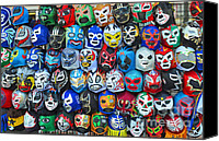 Jim Fitzpatrick Canvas Prints - Wrestling Masks of Lucha Libre Canvas Print by Jim Fitzpatrick