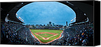 Wrigley Field Canvas Prints - Wrigley Field Night Game Chicago Canvas Print by Steve Gadomski