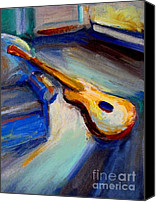 Frederick Luff Canvas Prints - Yellow Guitar Canvas Print by Luff  Gallery