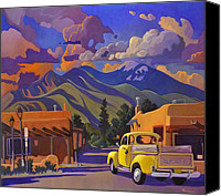 Taos Canvas Prints - Yellow Truck Canvas Print by Art West