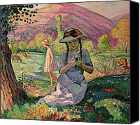 Featured Canvas Prints - Young Girl picking Flowers Canvas Print by Henri Lebasque