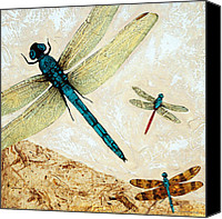 Insects Mixed Media Canvas Prints - Zen Flight - Dragonfly Art By Sharon Cummings Canvas Print by Sharon Cummings