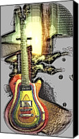Guitar Headstock Canvas Prints - Zoot Suit Guitar Abstract Canvas Print by Rosemarie E Seppala