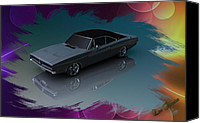 Louis Ferreira Art Canvas Prints -  1969 Dodge Charger Canvas Print by Louis Ferreira