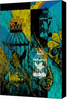 Found Paper Canvas Prints -  3 Caged Birds Grunge Canvas Print by Angelina Vick