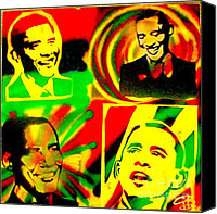 Conservative Painting Canvas Prints -  4 Rasta Obama Canvas Print by Tony B Conscious