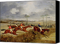 Onlookers Canvas Prints -  A Steeplechase - Near the Finish Canvas Print by Henry Thomas Alken